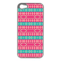 Pink blue rhombus pattern                               			Apple iPhone 5 Case (Silver)