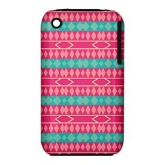 Pink blue rhombus pattern                               Apple iPhone 3G/3GS Hardshell Case (PC+Silicone)