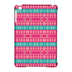 Pink blue rhombus pattern                               			Apple iPad Mini Hardshell Case (Compatible with Smart Cover)