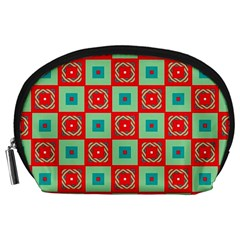 Blue red squares pattern                                Accessory Pouch
