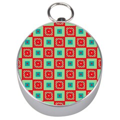Blue red squares pattern                                Silver Compass