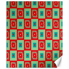 Blue red squares pattern                                Canvas 8  x 10