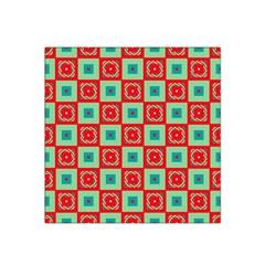 Blue red squares pattern                                Satin Bandana Scarf