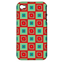 Blue red squares pattern                                Apple iPhone 4/4S Hardshell Case (PC+Silicone)