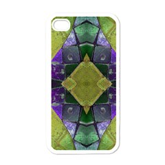 Purple Yellow Stone Abstract Apple iPhone 4 Case (White)