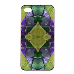 Purple Yellow Stone Abstract Apple iPhone 4/4s Seamless Case (Black)