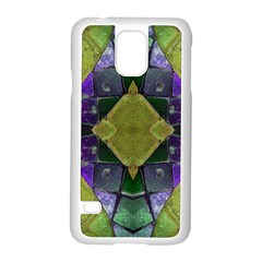 Purple Yellow Stone Abstract Samsung Galaxy S5 Case (White)