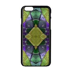 Purple Yellow Stone Abstract Apple iPhone 6/6S Black Enamel Case