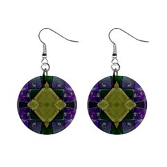 Purple Yellow Stone Abstract Mini Button Earrings