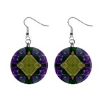 Purple Yellow Stone Abstract Mini Button Earrings Front