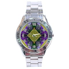 Purple Yellow Stone Abstract Stainless Steel Analogue Watch