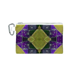 Purple Yellow Stone Abstract Canvas Cosmetic Bag (S)