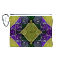Purple Yellow Stone Abstract Canvas Cosmetic Bag (L)