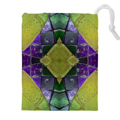 Purple Yellow Stone Abstract Drawstring Pouches (XXL)