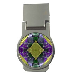 Purple Yellow Stone Abstract Money Clips (Round)