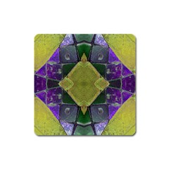 Purple Yellow Stone Abstract Square Magnet