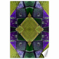 Purple Yellow Stone Abstract Canvas 12  x 18
