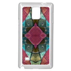 Pink Turquoise Stone Abstract Samsung Galaxy Note 4 Case (White)