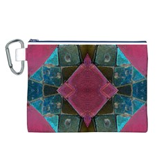 Pink Turquoise Stone Abstract Canvas Cosmetic Bag (L)