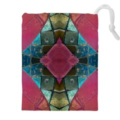 Pink Turquoise Stone Abstract Drawstring Pouches (XXL)