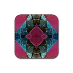 Pink Turquoise Stone Abstract Rubber Square Coaster (4 pack)