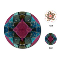 Pink Turquoise Stone Abstract Playing Cards (Round)