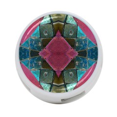 Pink Turquoise Stone Abstract 4-Port USB Hub (Two Sides)