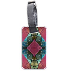 Pink Turquoise Stone Abstract Luggage Tags (One Side)