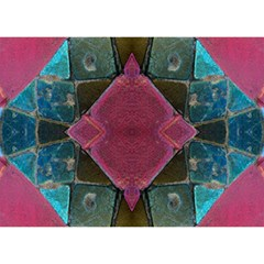 Pink Turquoise Stone Abstract Birthday Cake 3D Greeting Card (7x5)