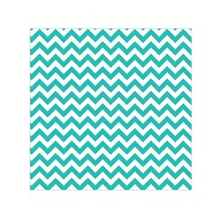 Turquoise & White Zigzag Pattern Small Satin Scarf (square)