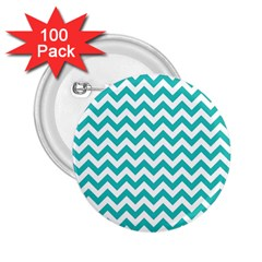 Turquoise & White Zigzag Pattern 2 25  Button (100 Pack)