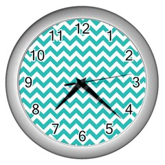 Turquoise & White Zigzag Pattern Wall Clock (silver)