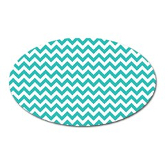 Turquoise & White ZigZag pattern Magnet (Oval)