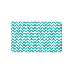 Turquoise & White Zigzag Pattern Magnet (name Card)