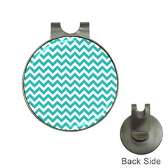 Turquoise & White Zigzag Pattern Golf Ball Marker Hat Clip