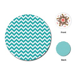 Turquoise & White Zigzag Pattern Playing Cards (round)
