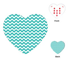 Turquoise & White Zigzag Pattern Playing Cards (heart)