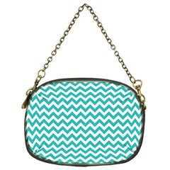 Turquoise & White Zigzag Pattern Chain Purse (one Side)