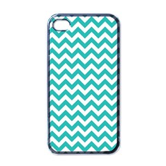 Turquoise & White ZigZag pattern Apple iPhone 4 Case (Black)