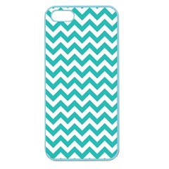 Turquoise & White Zigzag Pattern Apple Seamless Iphone 5 Case (color)