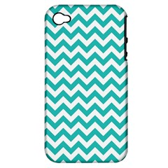Turquoise & White Zigzag Pattern Apple Iphone 4/4s Hardshell Case (pc+silicone)