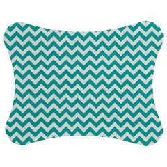 Turquoise & White Zigzag Pattern Jigsaw Puzzle Photo Stand (bow)