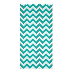 Turquoise & White Zigzag Pattern Shower Curtain 36  X 72  (stall)