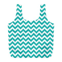 Turquoise & White Zigzag Pattern Full Print Recycle Bag (l)