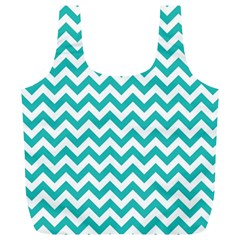 Turquoise & White ZigZag pattern Full Print Recycle Bag (XL)
