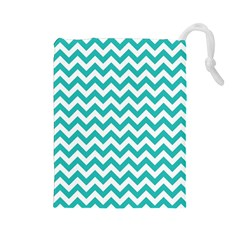 Turquoise & White Zigzag Pattern Drawstring Pouch (large)