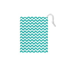 Turquoise & White ZigZag pattern Drawstring Pouch (XS)