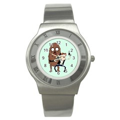 Space Adventure! Mans Best Friend Stainless Steel Watch