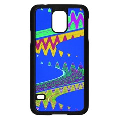Colorful Wave Blue Abstract Samsung Galaxy S5 Case (black)