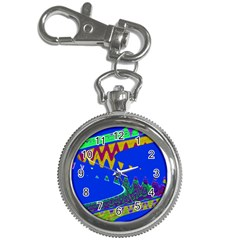 Colorful Wave Blue Abstract Key Chain Watches